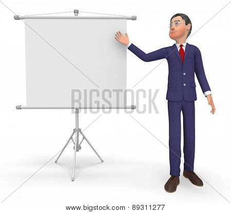 Businessman Presenting Indicates Text Space And Announcement