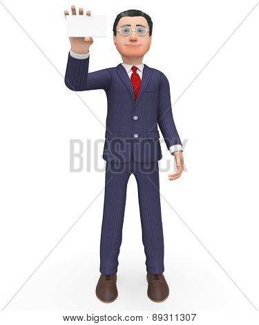 Business Card Means Empty Space And Businessman