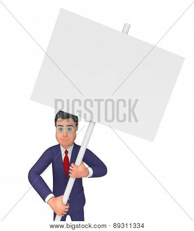 Businessman With Signboard Indicates Text Space And Announce