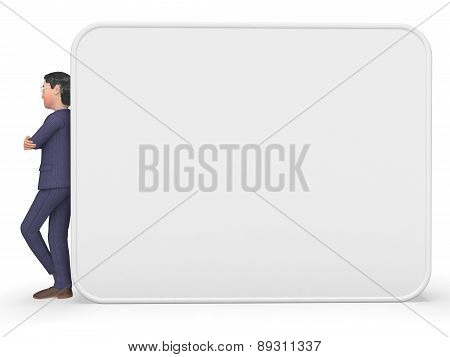 Businessman Beside Signboard Indicates Blank Space And Announcement