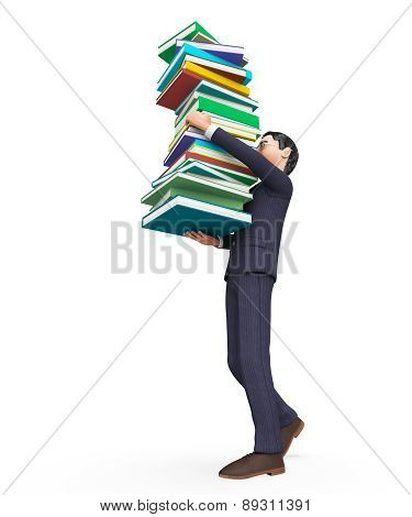 Businessman Carrying Books Represents Help Studying And Schooling