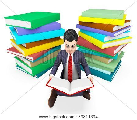 Businessman Reading Books Shows Corporate University And Assistance