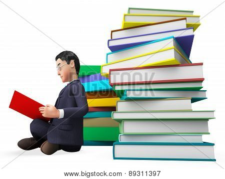 Businessman Reading Books Represents Faq Help And University