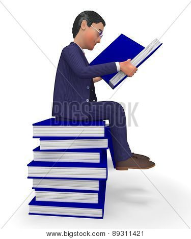 Businessman Reading Books Shows Textbook Information And Commerce