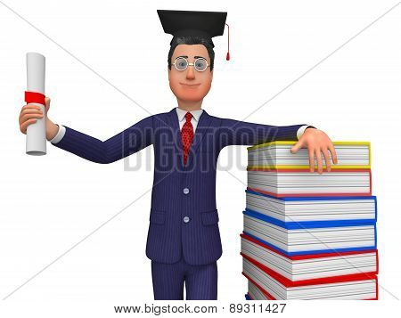 Man With Diploma Represents New Grad And Masters