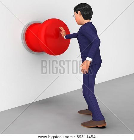 Businessman Pushes Button Indicates Stop Sign And Businessmen