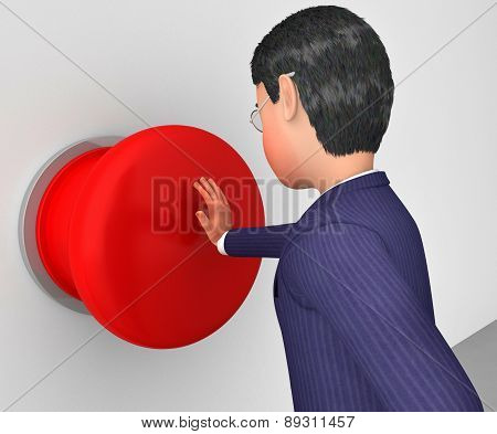Businessman Pushes Button Represents Get Going And Activate