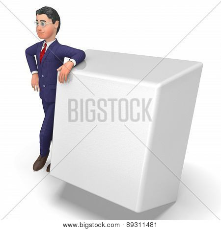 Businessman With Key Means Empty Space And Biz