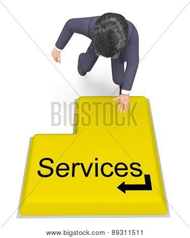 Businessman Selecting Services Shows Help Desk And Biz