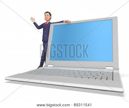 Businessman On Laptop Shows Blank Space And Biz