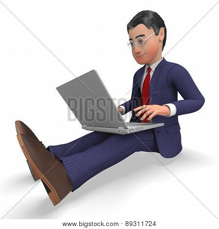Businessman Typing Means World Wide Web And Biz