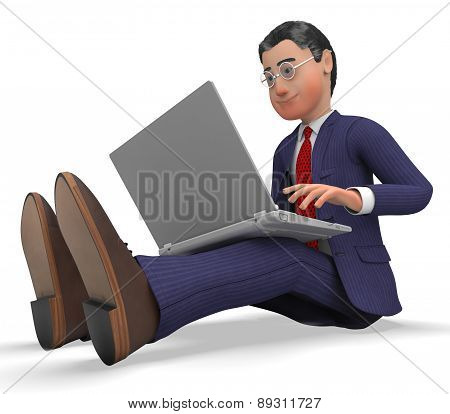 Businessman Typing Means World Wide Web And Businessmen