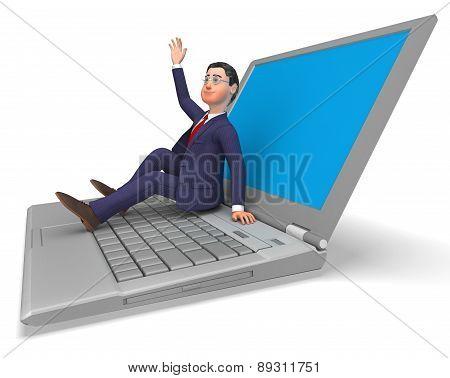 Businessman On Laptop Indicates World Wide Web And Biz