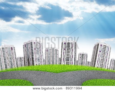 Cityscape under blue sky with clouds and sunbeam