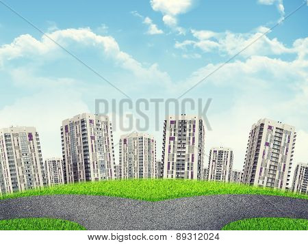 Cityscape under cloudy blue sky