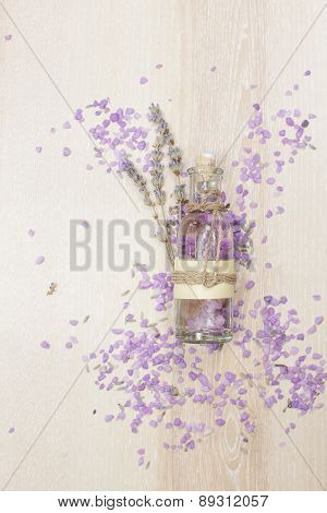 Lavender essential oil in a glass bottle