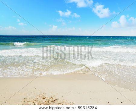 Poetto Beach Under A Blue Sky