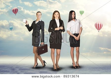 Group of smiling businesswomen