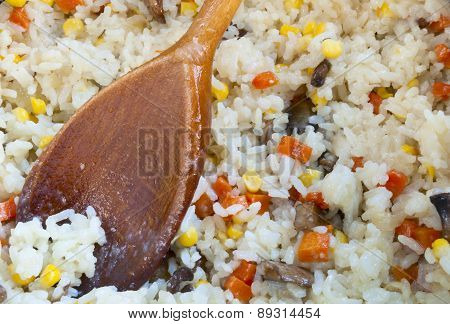 Delicious Risotto And Wooden Spoon