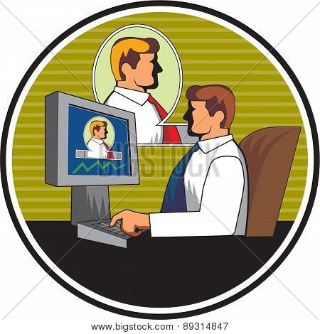 Businessman Video Conference Retro