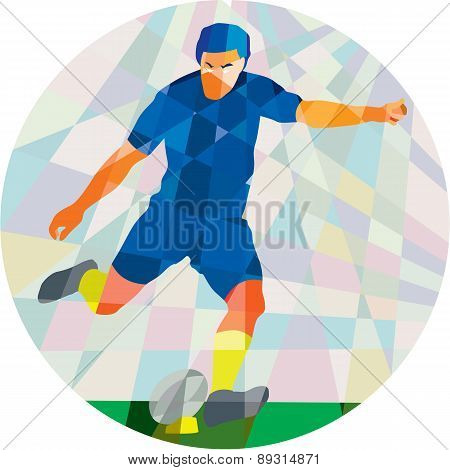 Rugby Player Kicking Ball Circle Low Polygon