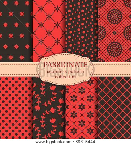 Red And Black Seamless Patterns. Vector Set.