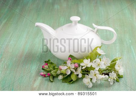 Teapot White, Apple Blossom, Cherry Blossom, Mint, On Turquoise Background