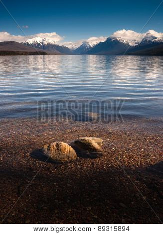 Clear Water Polished Rocks Lake Mcdonald Glacier National Park Montana