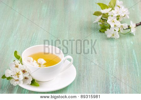 White Cup, Saucer White, Apple Blossom, Cherry Blossom, Mint, On Turquoise Background