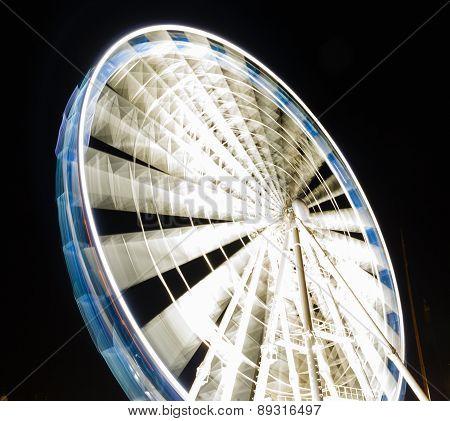 Ferris Wheel At Night  In Gdansk, Poland