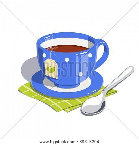 Tea cup and spoon. Eps10 vector illustration. Isolated on white background