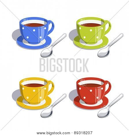 Tea cup and spoon. Set of  Eps10 vector illustrations. Isolated on white background
