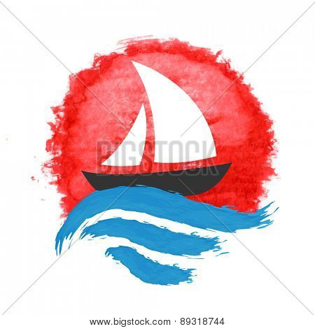 Sailing boat on the water, vector icon
