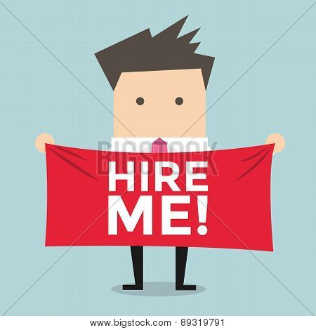 Businessman holding a banner for hiring