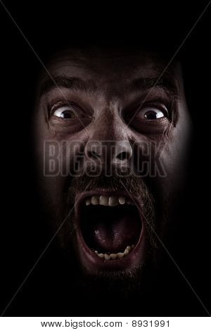 Scream Of Scared Spooky Man In Dark