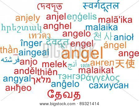 Background concept wordcloud multilanguage international many language illustration of angel