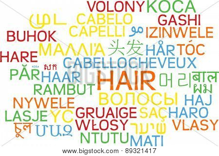 Background concept wordcloud multilanguage international many language illustration of hair