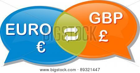 Illustration concept clipart speech bubble dialog conversation negotiation of currency exchange rate Euro GBP Pound