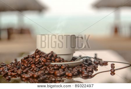 Coffee On The Background Of The Sea
