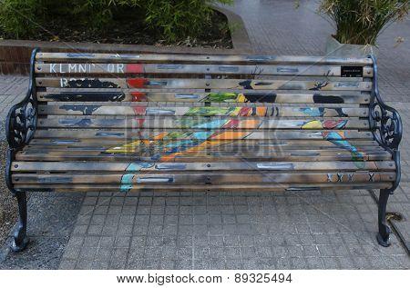 Painted Benches of Santiago in Las Condes, Santiago de Chile