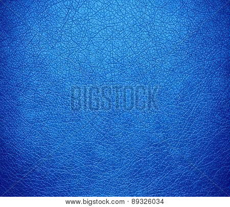 Brilliant azure color leather texture background