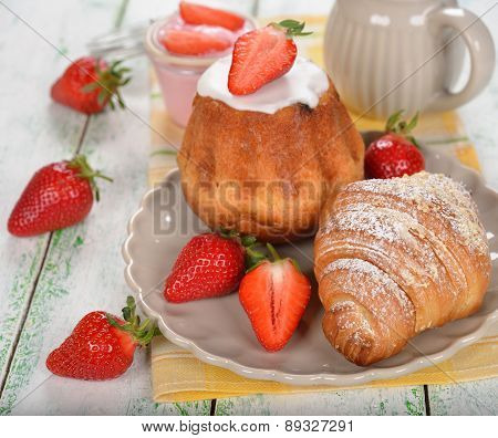 Baba And Croissant With Strawberry