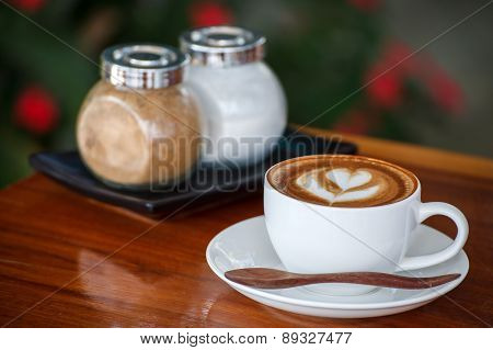 A Cup Of Coffee Latte With Sugar