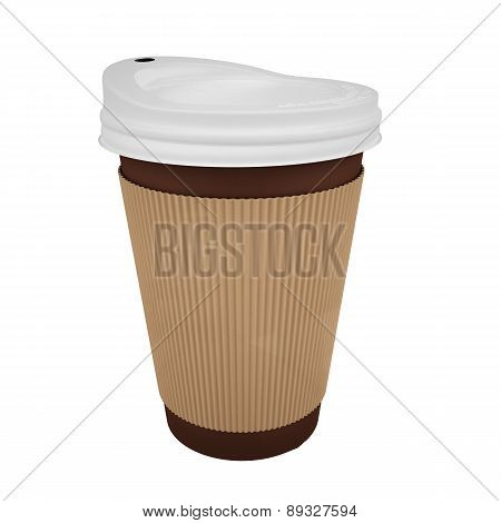 Brown Take Away coffee cup with sleeve-isolated