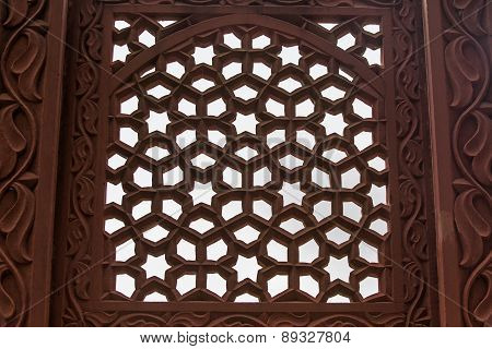 Beautiful Marble Carvings On Akbar's Tomb Temple, Agra, India
