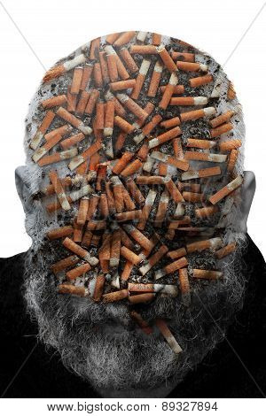 Collage Of The Man With A Beard And Cigarette Stubs