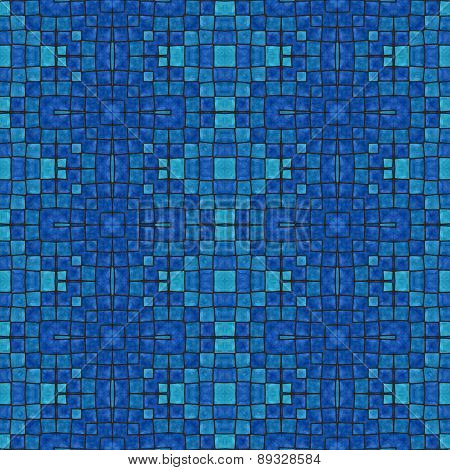 Retro ancient mosaic blue tonality pattern