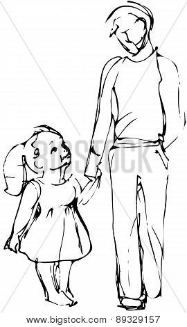 Vector Sketch Dad And Daughter Walking Hand