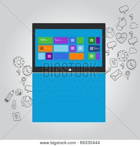 laptop notebook function icon illustration