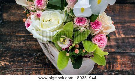 Flower Bouquet Of Fresh Roses